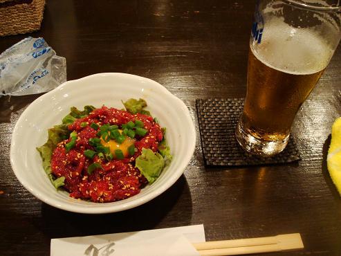 生ビール+ユッケ